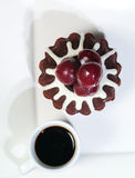Chocolate Cake with cherry and coffee. Royalty Free Stock Photography