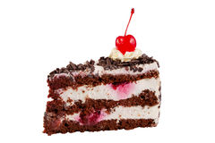 Chocolate cake with cherry and cream Royalty Free Stock Photo