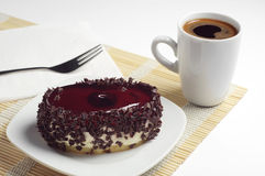 Chocolate cake with cherry jelly and coffee Stock Photography