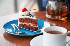 Chocolate cake with cherry Stock Image