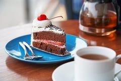 Chocolate cake with cherry Stock Image
