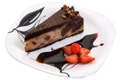 Chocolate cake, cherry and strawberry Royalty Free Stock Image