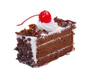 Chocolate cake with cherry on top Royalty Free Stock Image