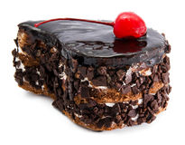 Chocolate cake with cherry on top Stock Image