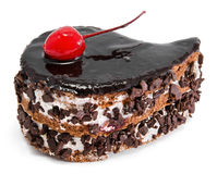 Chocolate cake with cherry on top Stock Photography