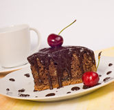 Chocolate cake with cherry Stock Photography