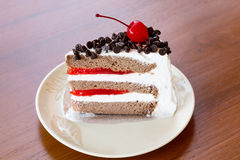 Chocolate cake  with cherry Royalty Free Stock Photo