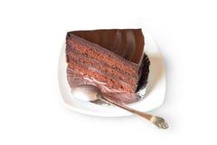Chocolate cake with chocolate cream on white background,Clipping Path. Chocolate cake with chocolate cream on white background Stock Photo