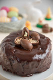 Chocolate Cake with chocolate eggs Stock Images