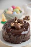 Chocolate Cake with chocolate eggs Stock Photo