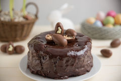 Chocolate Cake with chocolate eggs Royalty Free Stock Images