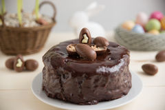 Chocolate Cake with chocolate eggs Stock Photos