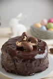 Chocolate Cake with chocolate eggs Royalty Free Stock Photo