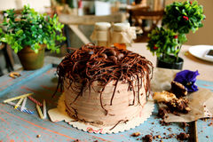 Chocolate cake with chocolate eggs on top, with green plants, ca. Chocolate cake with chocolate eggs on top, with green plants in the background in bakery stock photography