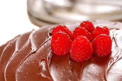 Chocolate cake with chocolate frosting Royalty Free Stock Image