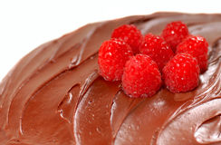Chocolate cake with chocolate frosting Royalty Free Stock Images