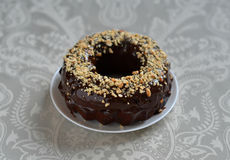 Chocolate cake with chocolate frosting and nuts Royalty Free Stock Images