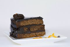 Chocolate cake with chocolate pieces Royalty Free Stock Photo