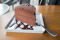 Chocolate cake with chocolate syrup Stock Photo
