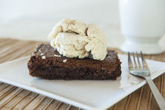 Chocolate Cake with Cinnamon Ice Cream Royalty Free Stock Photography