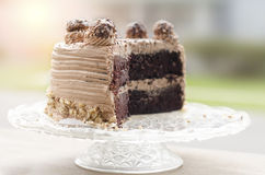 Chocolate cake. Close up shallow depth of field Royalty Free Stock Photo
