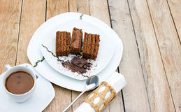Chocolate cake and coffe Royalty Free Stock Image