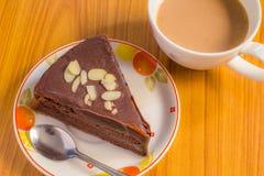 Chocolate Cake. In coffe break Stock Image