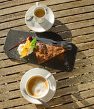 Chocolate cake and coffe. Royalty Free Stock Photography