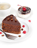 Chocolate cake with coffee Stock Photos