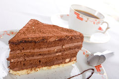 Chocolate cake and coffee Royalty Free Stock Image