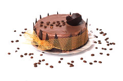 Chocolate cake with coffee beans Royalty Free Stock Photography