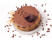 Chocolate cake with coffee beans Stock Photo