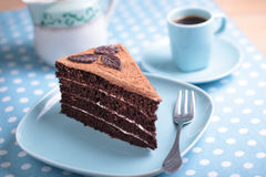 Chocolate cake and coffee royalty free stock photos