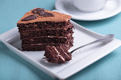 Chocolate cake and coffee Royalty Free Stock Images