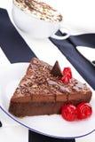 Chocolate cake and coffee still life. Stock Photos