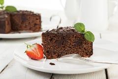 Chocolate Cake on coffee table closeup Stock Photo