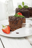 Chocolate cake on coffee table Stock Photo