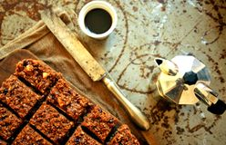 Chocolate cake and coffee on a vintage board Stock Image
