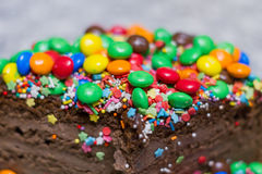 Chocolate cake with colorfull decoration Royalty Free Stock Photography
