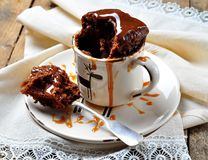 Chocolate cake cooked in a cup in the microwave for 2 minutes. Rustic style. Selective focus. Royalty Free Stock Image