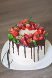Chocolate cake,cooked at home.  Royalty Free Stock Images