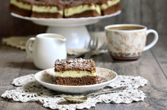 Chocolate cake with cottage cheese. Stock Image