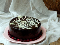 Chocolate cake covered a mirror coating. Homemade chocolate cake covered a mirror coating royalty free stock images