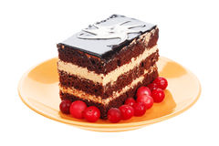 Chocolate cake with cranberries on orange plate Stock Photo