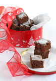 Chocolate cake with cranberry. In the gift box Stock Photos