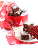Chocolate cake with cranberry. In the gift box Royalty Free Stock Photos