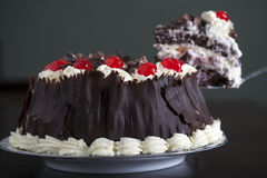 Chocolate cake with cream and cherries. Royalty Free Stock Image