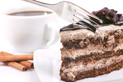 Chocolate-cake with cream and coffee Royalty Free Stock Image