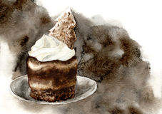 Chocolate cake with cream and cookie. Hand-painted watercolor illustration Royalty Free Stock Photos