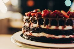 Chocolate cake with cream and fruits. Close up view of yummy chocolate cake with cream and fruits Stock Photo